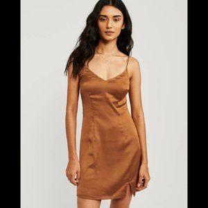 Abercrombie satin belted cami dress - orange